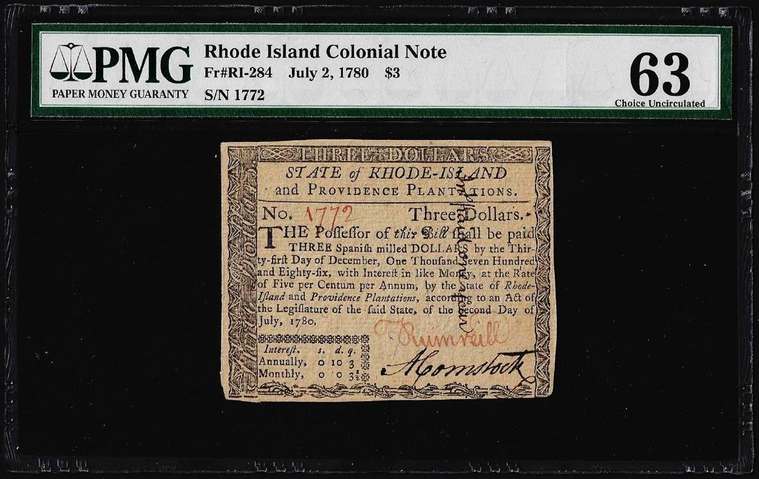Jul 2, 1780 $3 Rhode Island Colonial Currency Note PMG