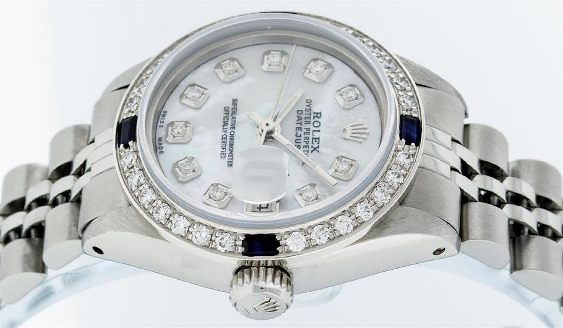 Rolex Ladies Stainless Steel Mother Of Pearl Diamond & - 4