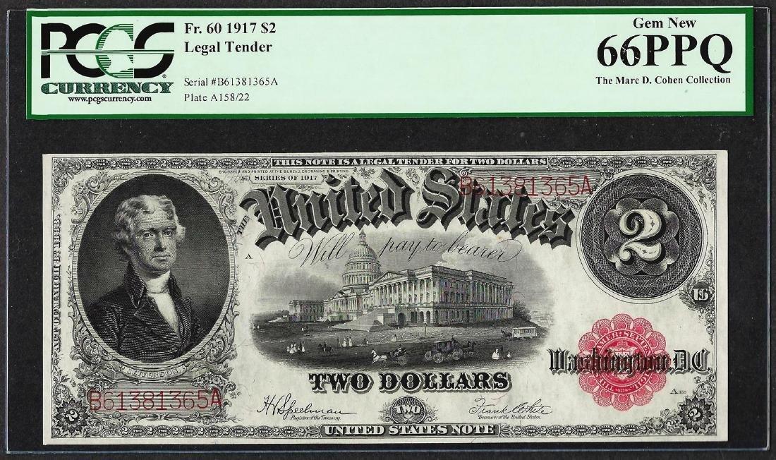 1917 $2 Legal Tender Note Fr.60 PCGS Gem New 66PPQ