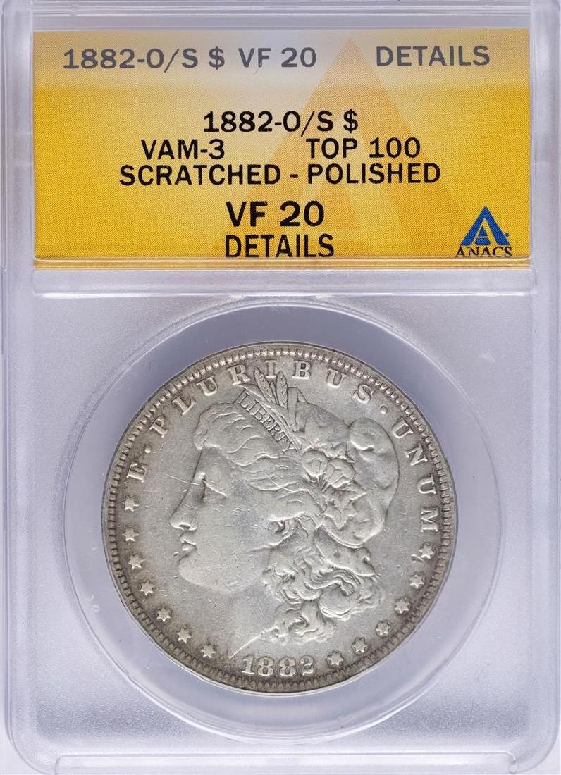 1882-O/S $1 Morgan Silver Dollar Coin VAM-3 Top 100