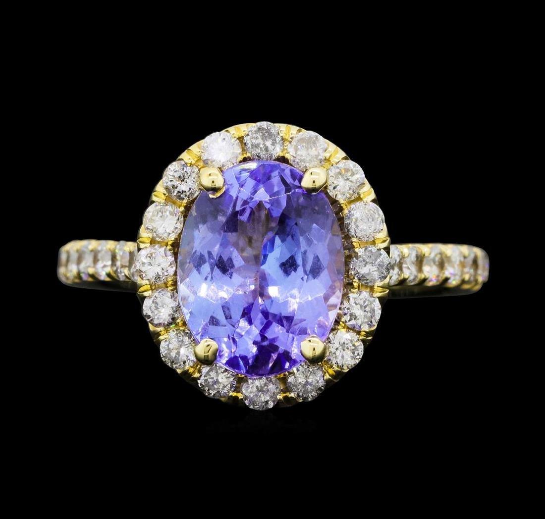 14KT Yellow Gold 3.50 ct. Tanzanite and Diamond Ring