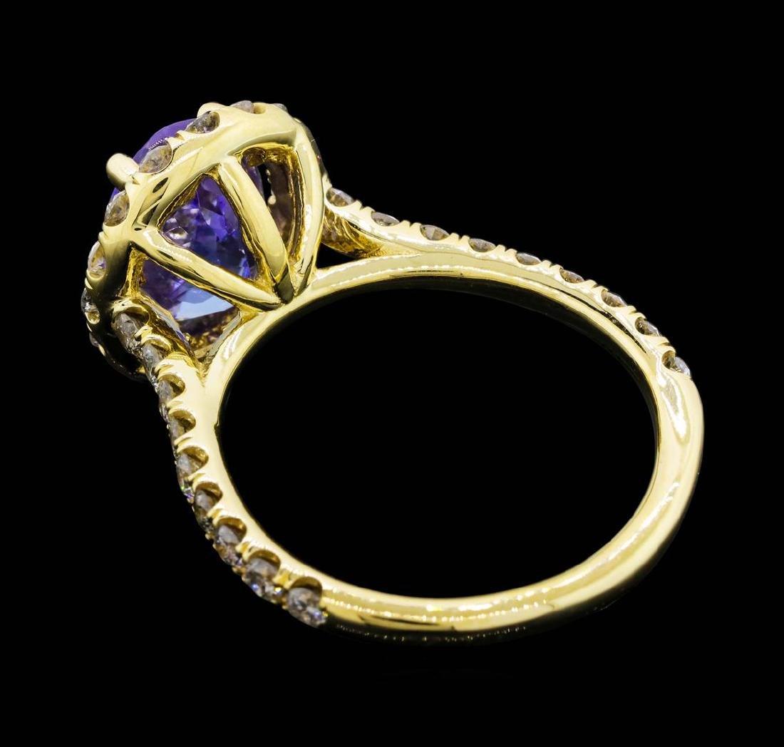 14KT Yellow Gold 3.50 ct. Tanzanite and Diamond Ring - 3