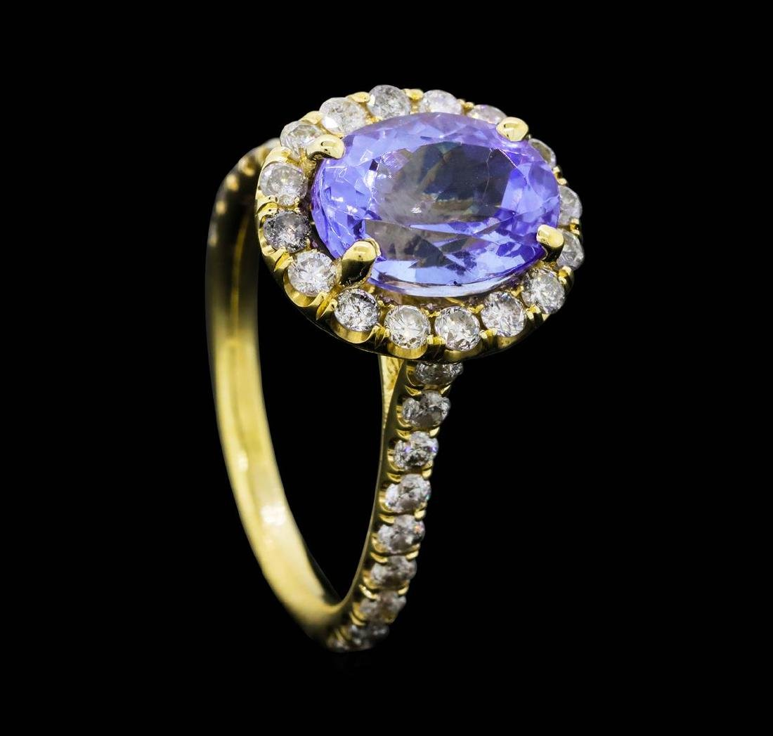 14KT Yellow Gold 3.50 ct. Tanzanite and Diamond Ring - 4