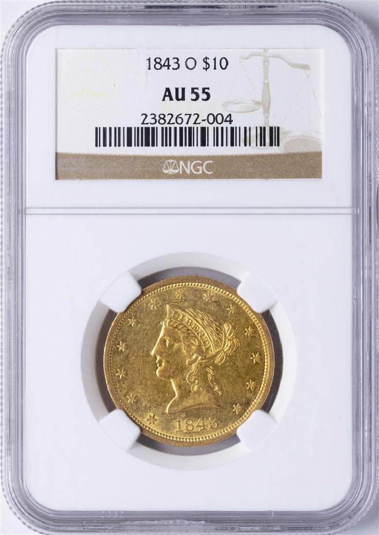 1843-O $10 Liberty Head Eagle Gold Coin NGC AU55