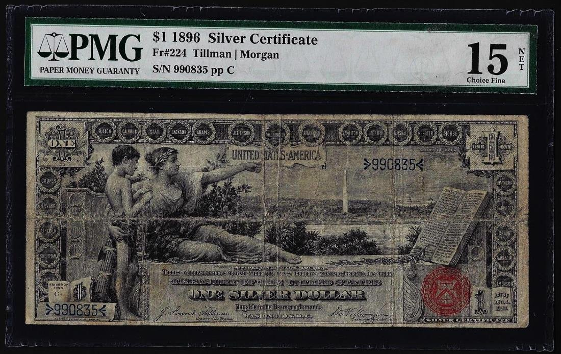 1896 $1 Educational Silver Certificate Note Fr.224 PMG