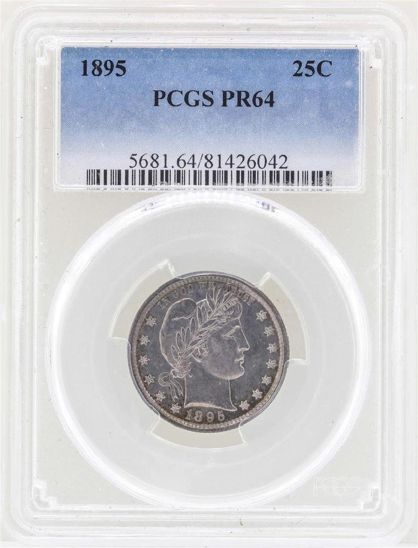 1895 Barber Quarter Proof Coin PCGS PR64