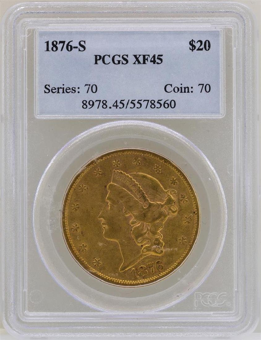 1876-S $20 Liberty Head Double Eagle Gold Coin PCGS