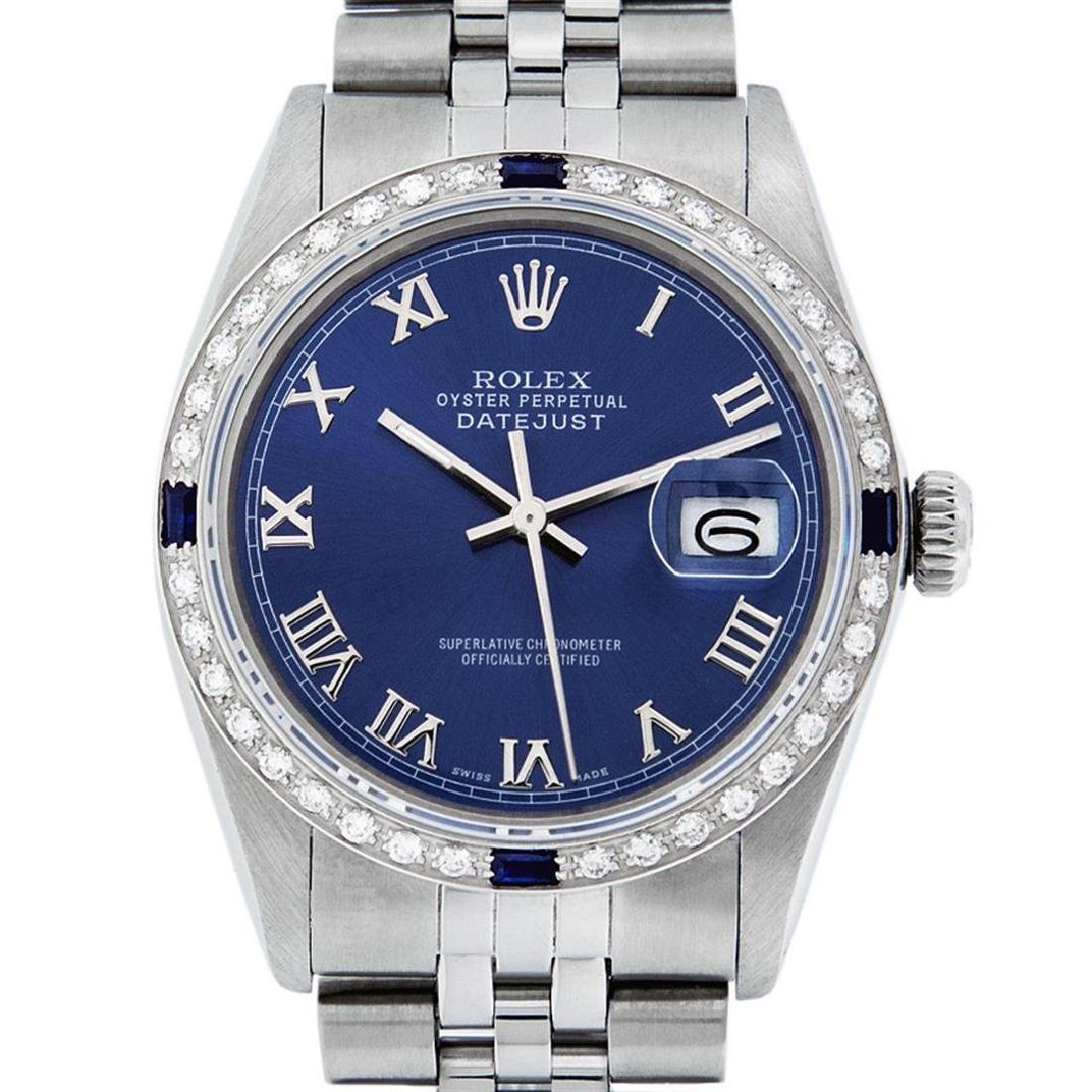 Rolex Men's Stainless Steel Blue Roman Diamond &