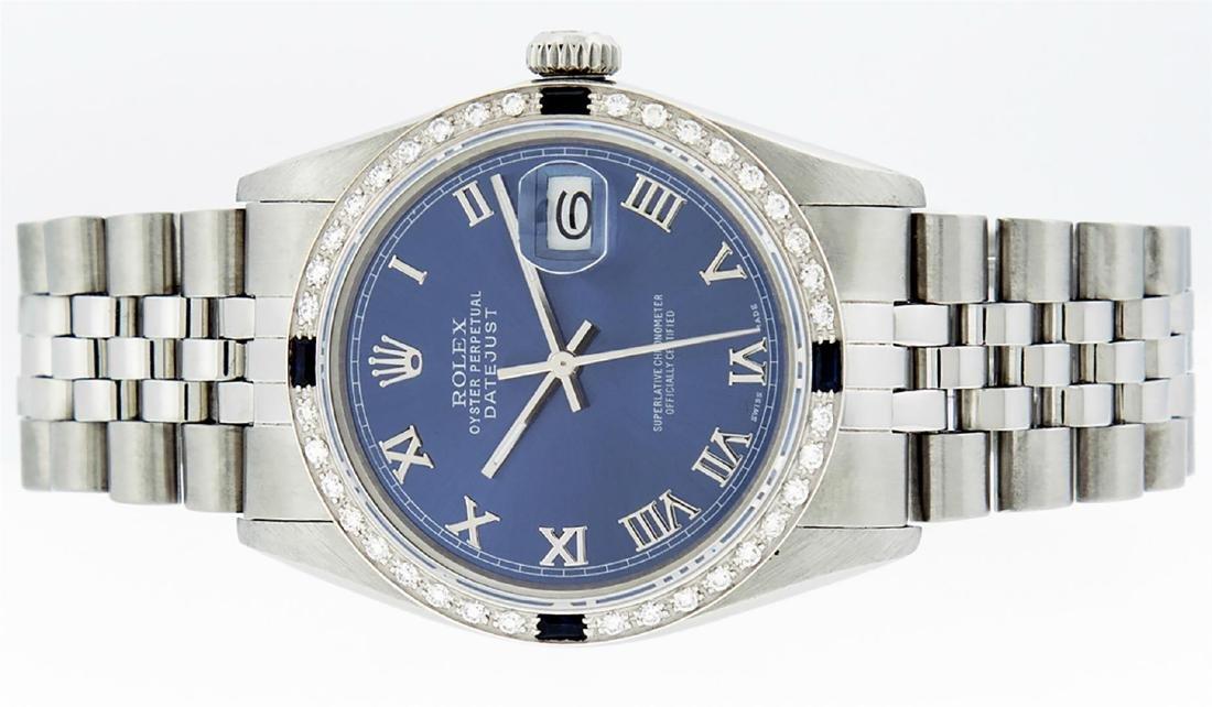 Rolex Men's Stainless Steel Blue Roman Diamond & - 3