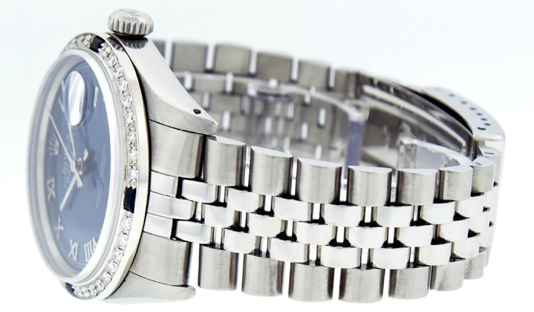 Rolex Men's Stainless Steel Blue Roman Diamond & - 5