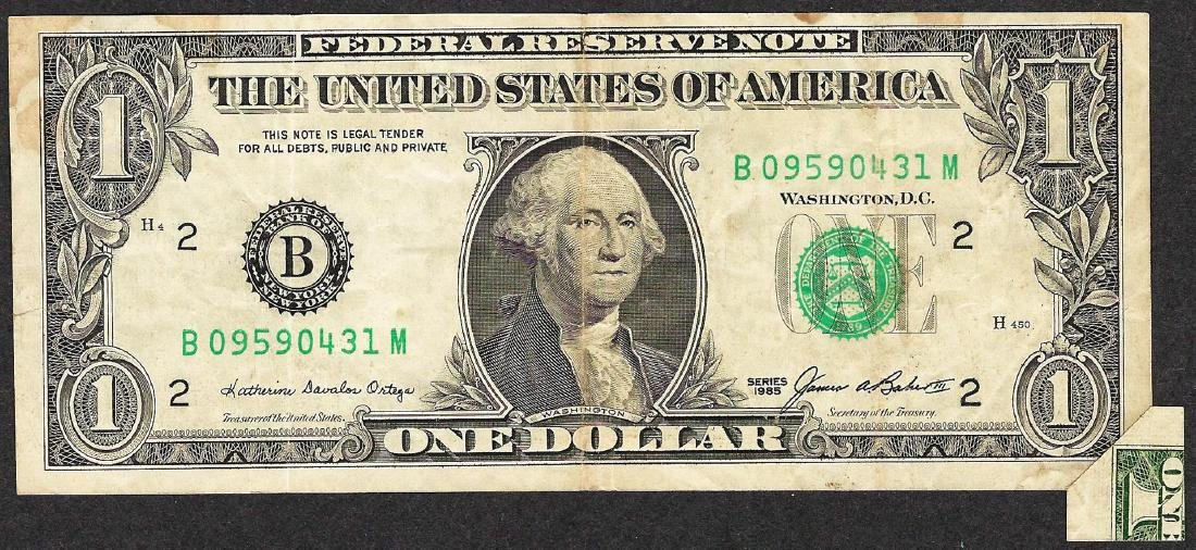 1985 $1 Federal Reserve Note Fold Over ERROR - 2