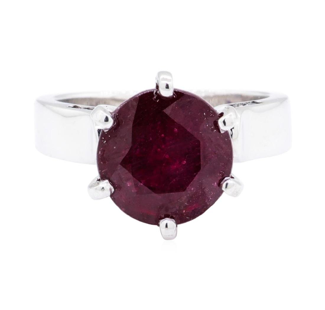 14KT White Gold 0.20 ctw Diamond and Glass Filled Ruby - 2