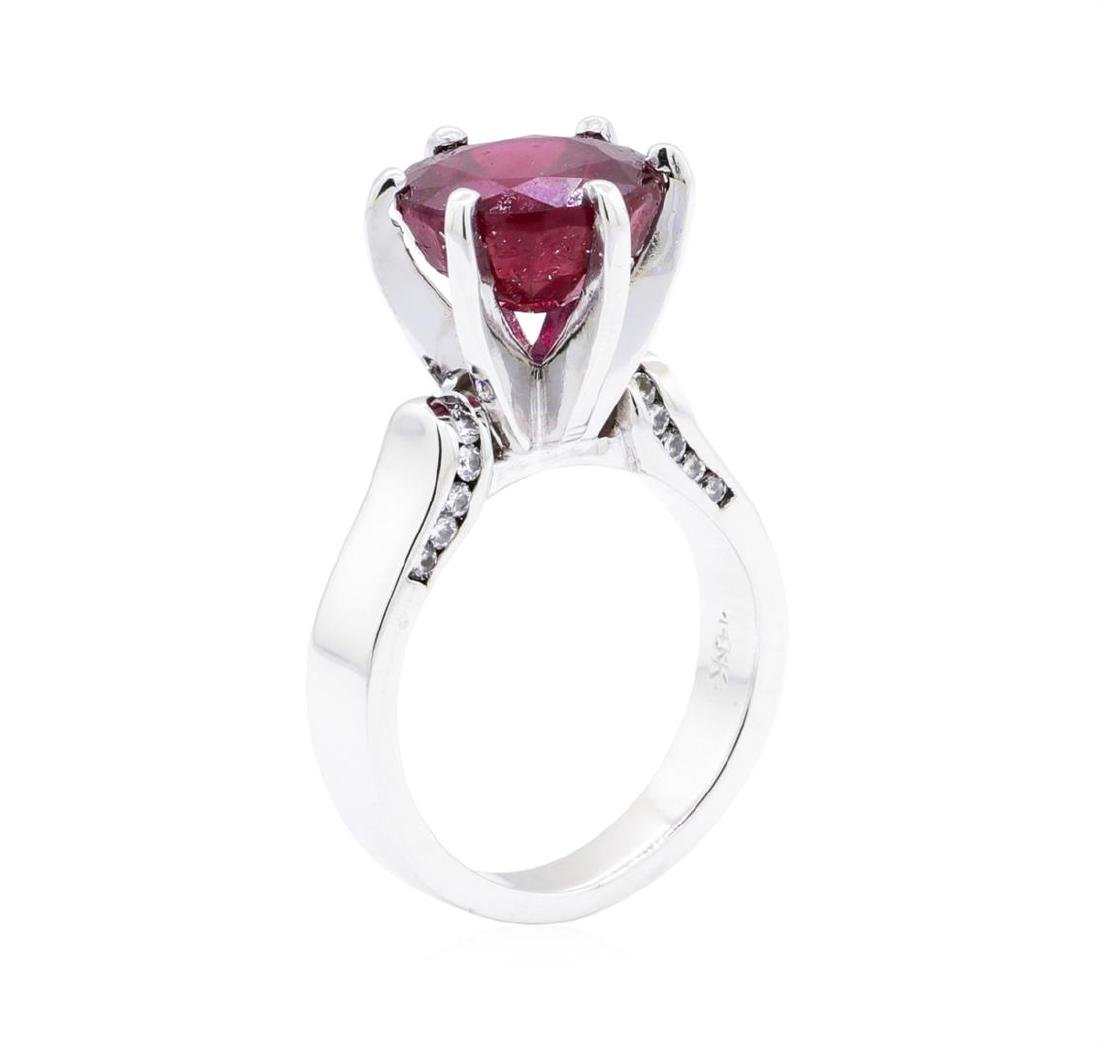 14KT White Gold 0.20 ctw Diamond and Glass Filled Ruby - 4