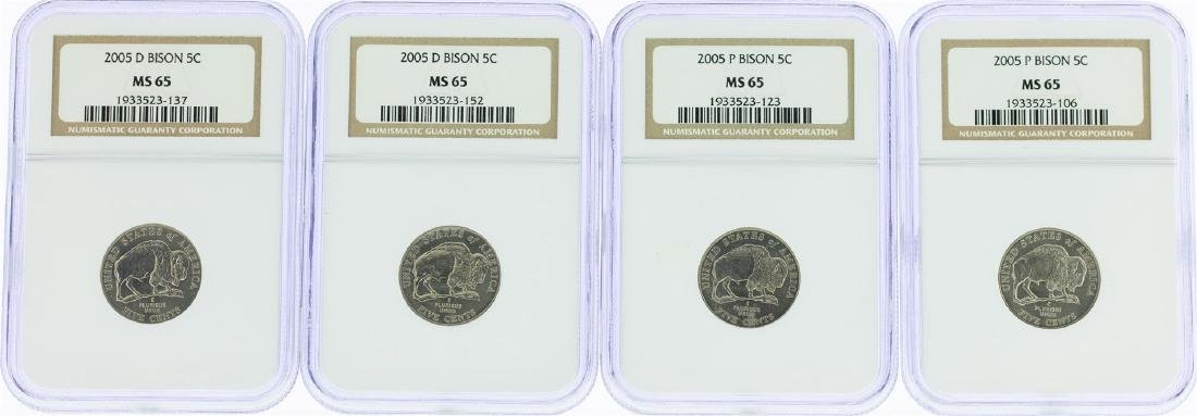 Lot of (4) 2005 Bison Nickel Coins NGC MS65