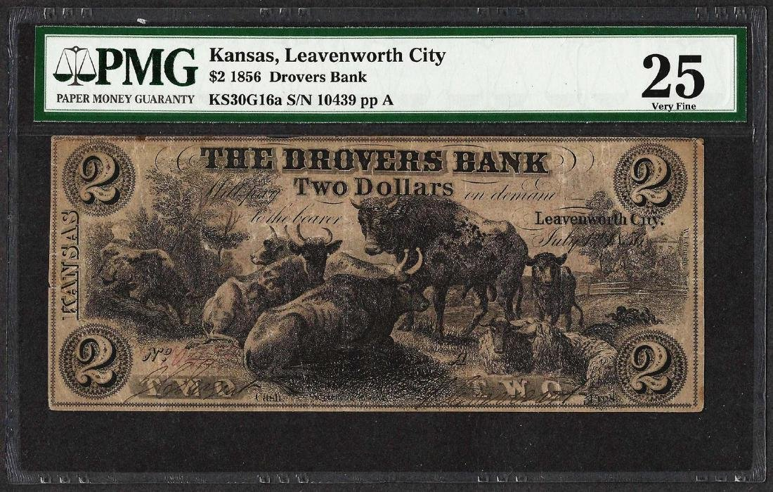 1856 $2 Drovers Bank Leavenworth City, KS Obsolete Note