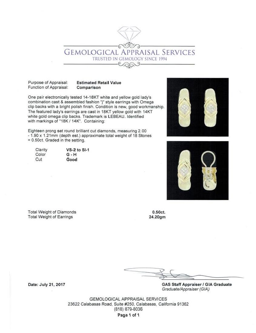 14-18KT Yellow and White Gold 0.50 ctw Diamond Clip - 3