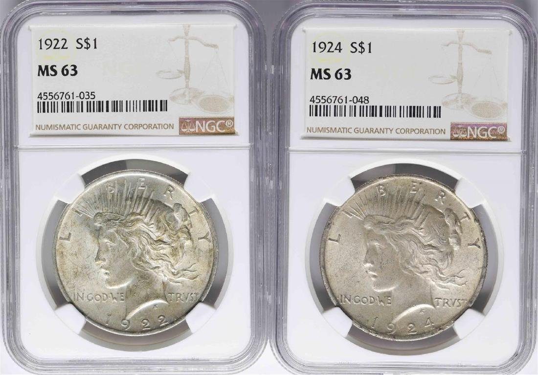 Lot of 1922 & 1924 $1 Peace Silver Dollar Coins NGC