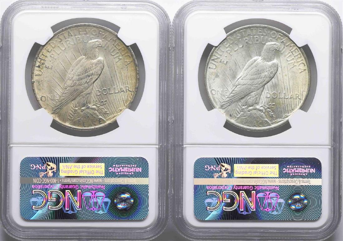 Lot of 1922 & 1924 $1 Peace Silver Dollar Coins NGC - 2