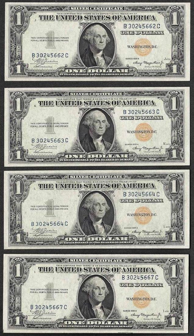 Lot of (4) 1935A $1 North Africa Emergency WWII Silver