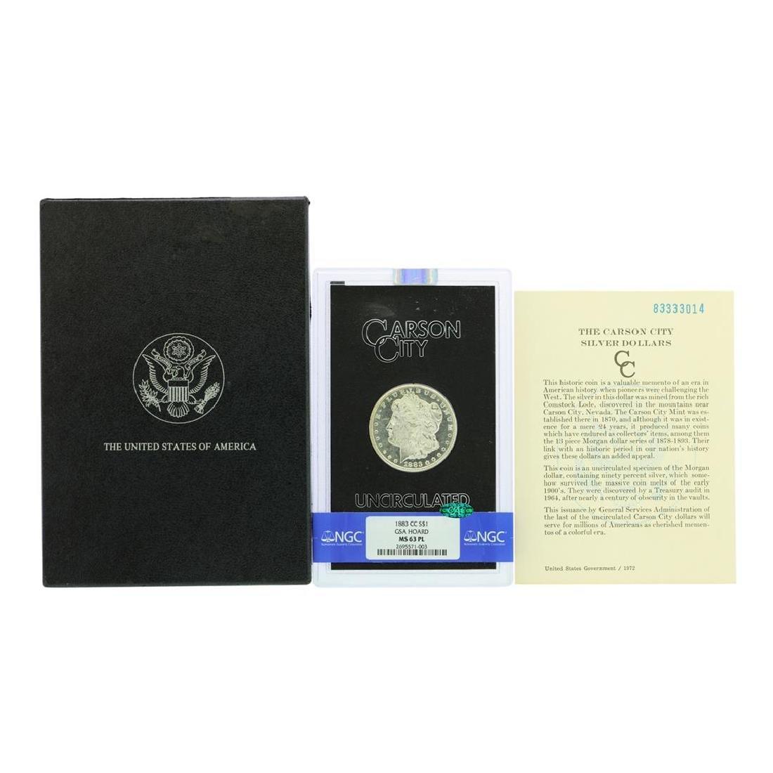 1883-CC $1 Morgan Silver Dollar Coin GSA NGC MS63PL CAC