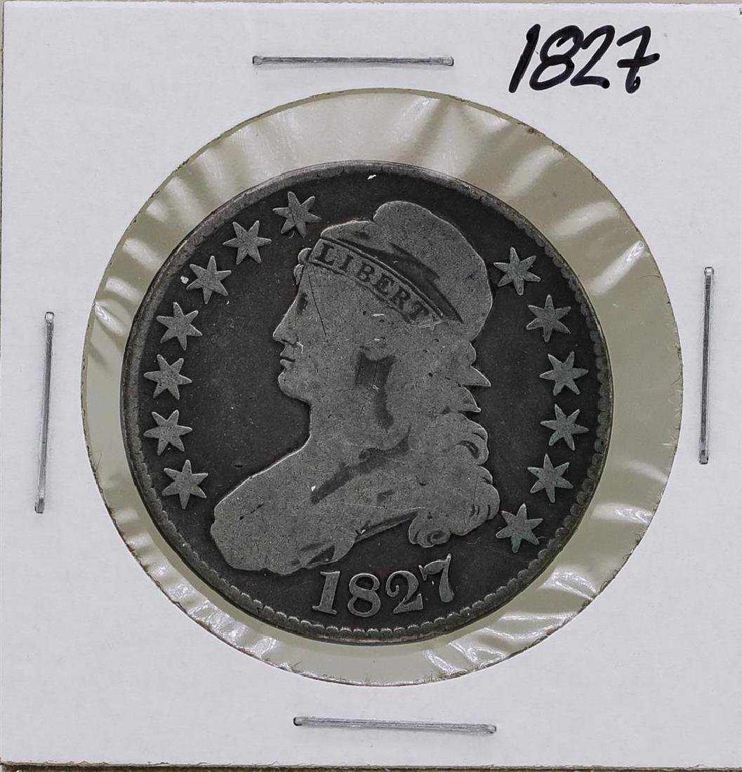 1827 Square Two Capped Bust Half Dollar Coin
