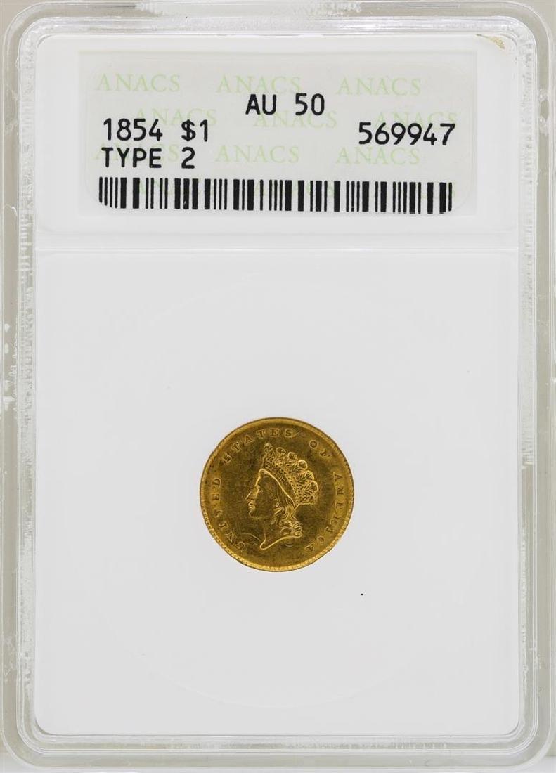 1854 $1 Indian Princess Head Type 2 Gold Dollar Coin