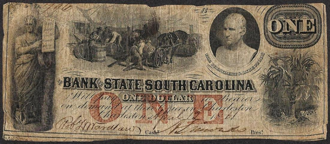 1861 $1 Bank of the State of South Carolina Obsolete