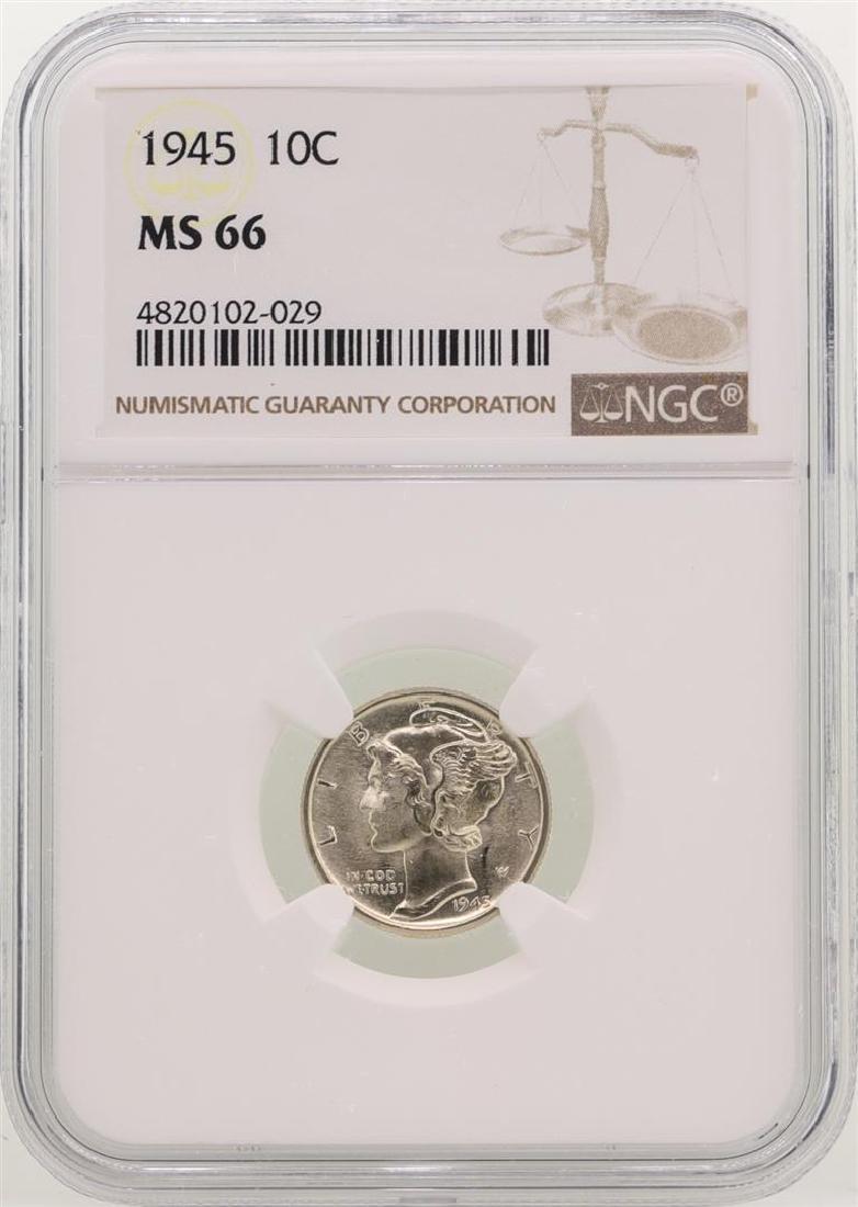 1945 Mercury Dime Coin NGC MS66