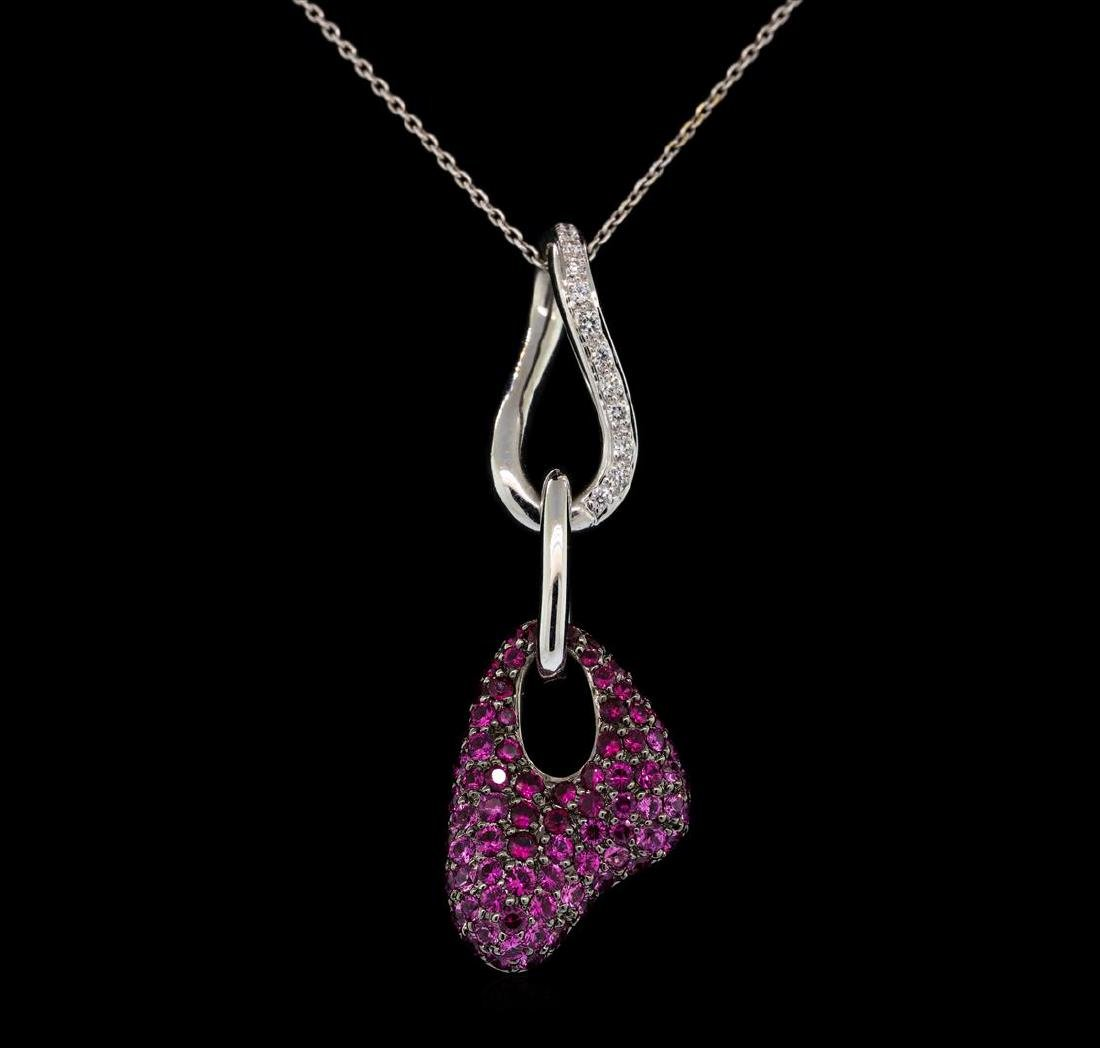 14KT-18KT White Gold 1.40 ctw Pink Sapphire and Diamond