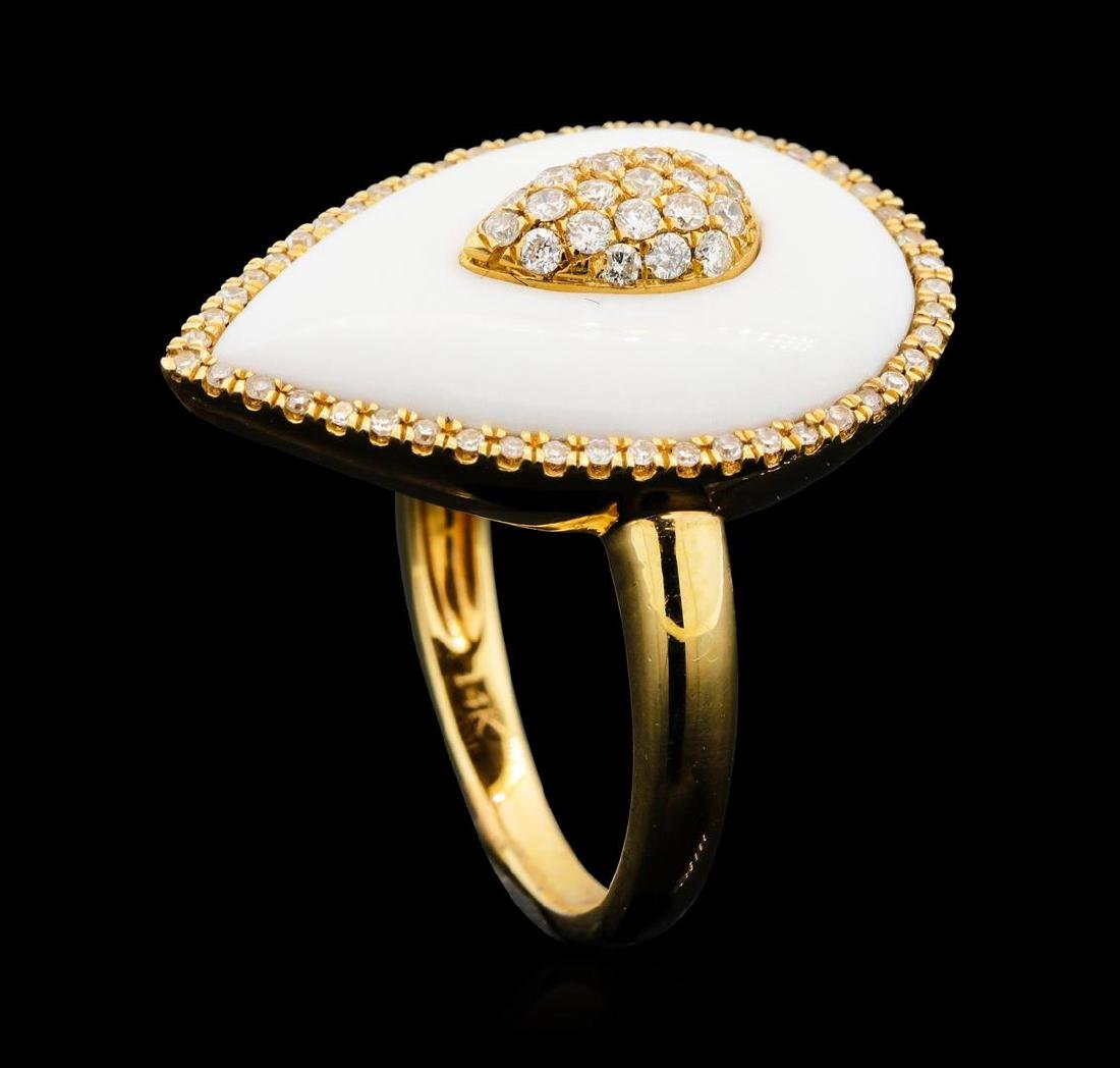 14KT Rose Gold 4.56 ctw White Onyx and Diamond Ring - 4