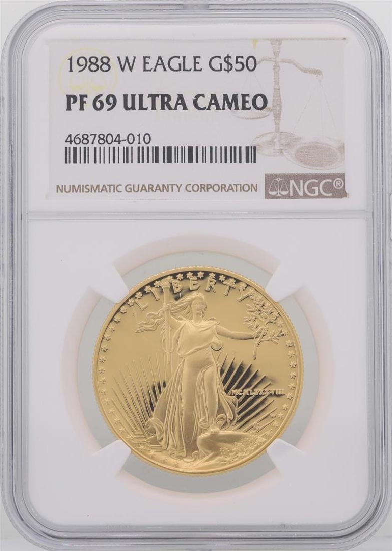 1988-W $50 American Gold Eagle Coin NGC PF69 Ultra