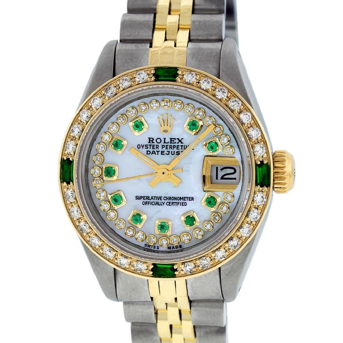 Rolex Ladies Two Tone 14K MOP Diamond & Emerald
