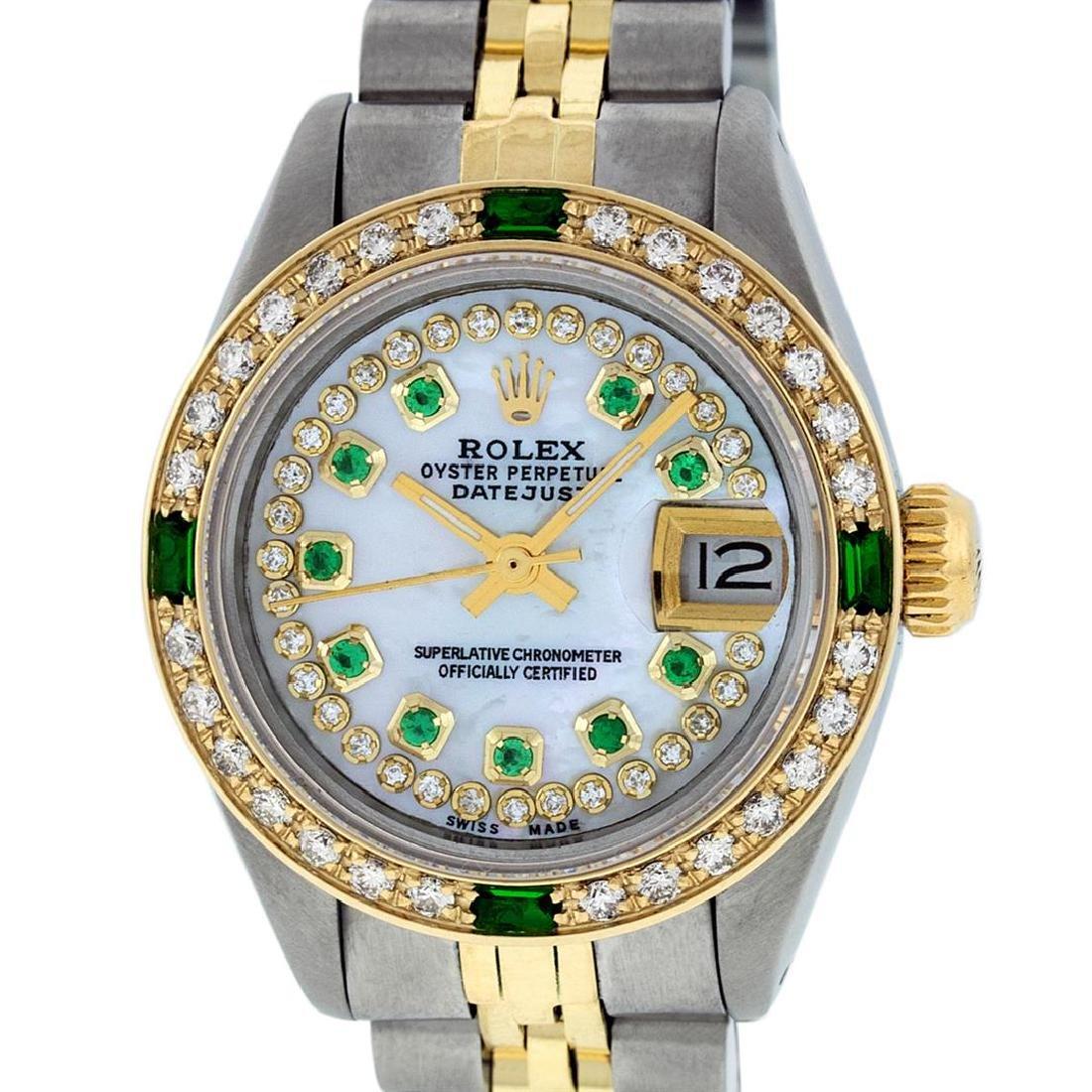 Rolex Ladies Two Tone 14K MOP Diamond & Emerald - 2