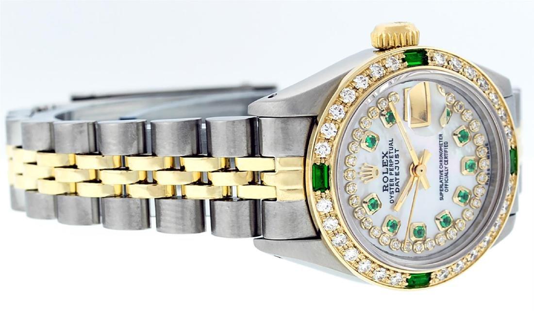 Rolex Ladies Two Tone 14K MOP Diamond & Emerald - 3