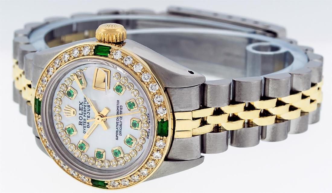 Rolex Ladies Two Tone 14K MOP Diamond & Emerald - 4
