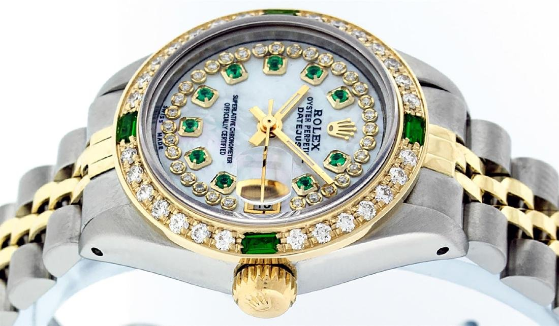 Rolex Ladies Two Tone 14K MOP Diamond & Emerald - 5