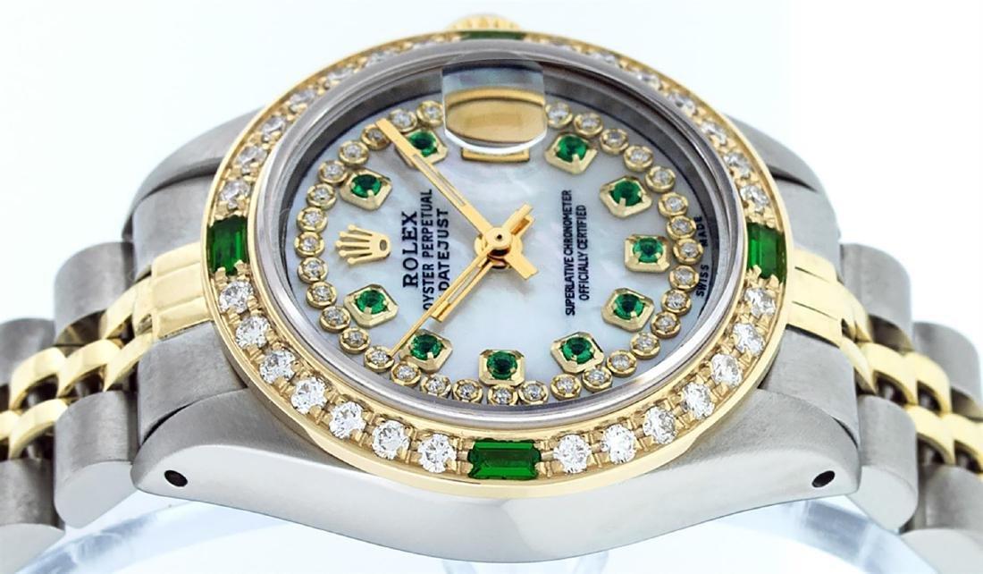 Rolex Ladies Two Tone 14K MOP Diamond & Emerald - 6