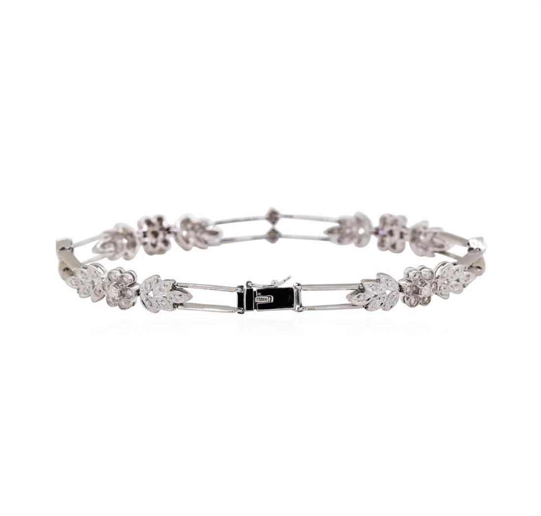 18KT White Gold 1.00 ctw Diamond Bracelet - 2