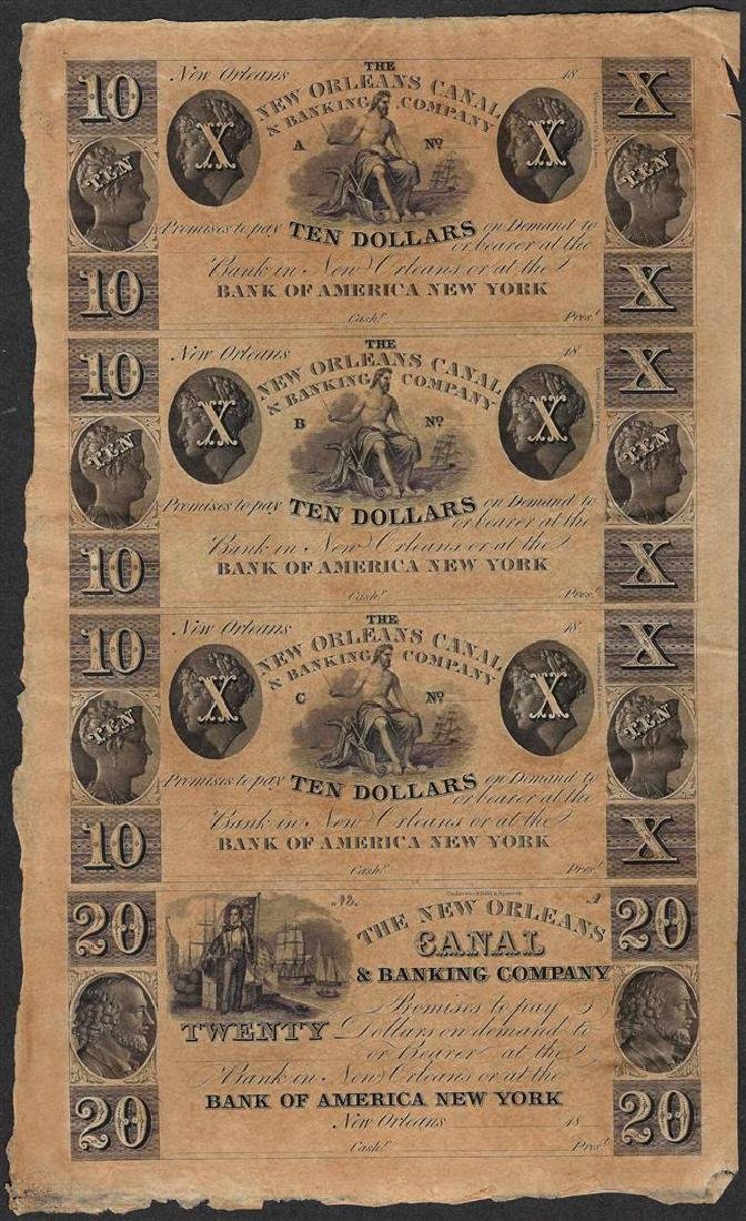 Uncut Sheet of 1800's New Orleans Canal & Banking