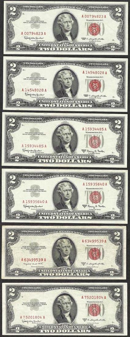 Lot of (6) 1953/1963 $2 Legal Tender Notes