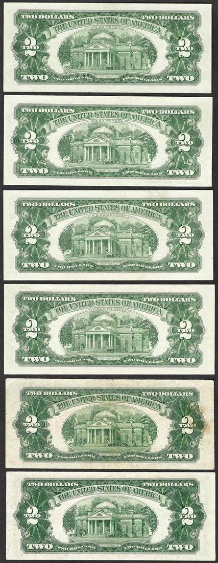 Lot of (6) 1953/1963 $2 Legal Tender Notes - 2