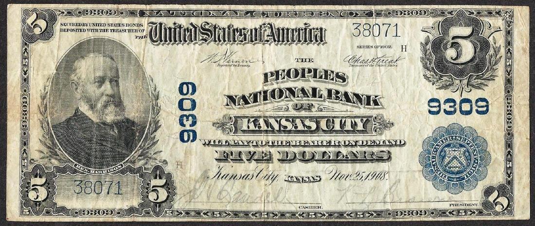 1902PB $5 Peoples National Bank of Kansas City, KS CH#