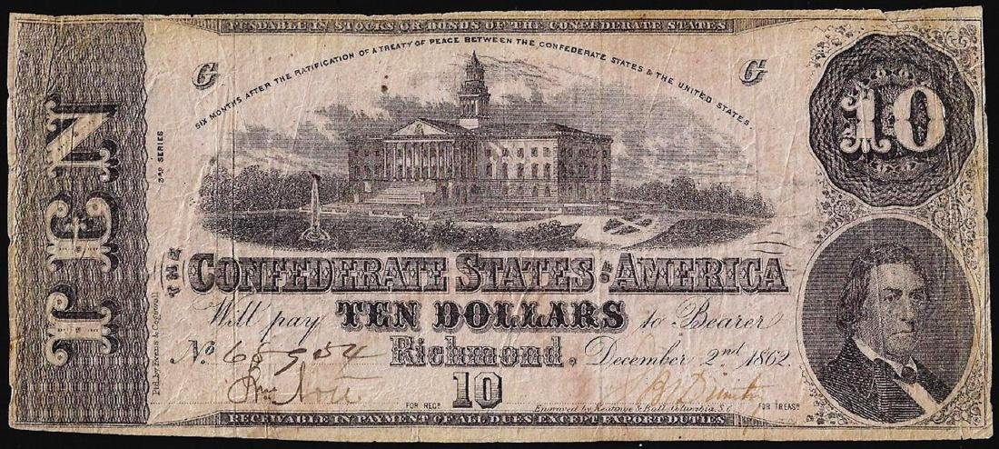 1862 $10 Confederate States of America Note