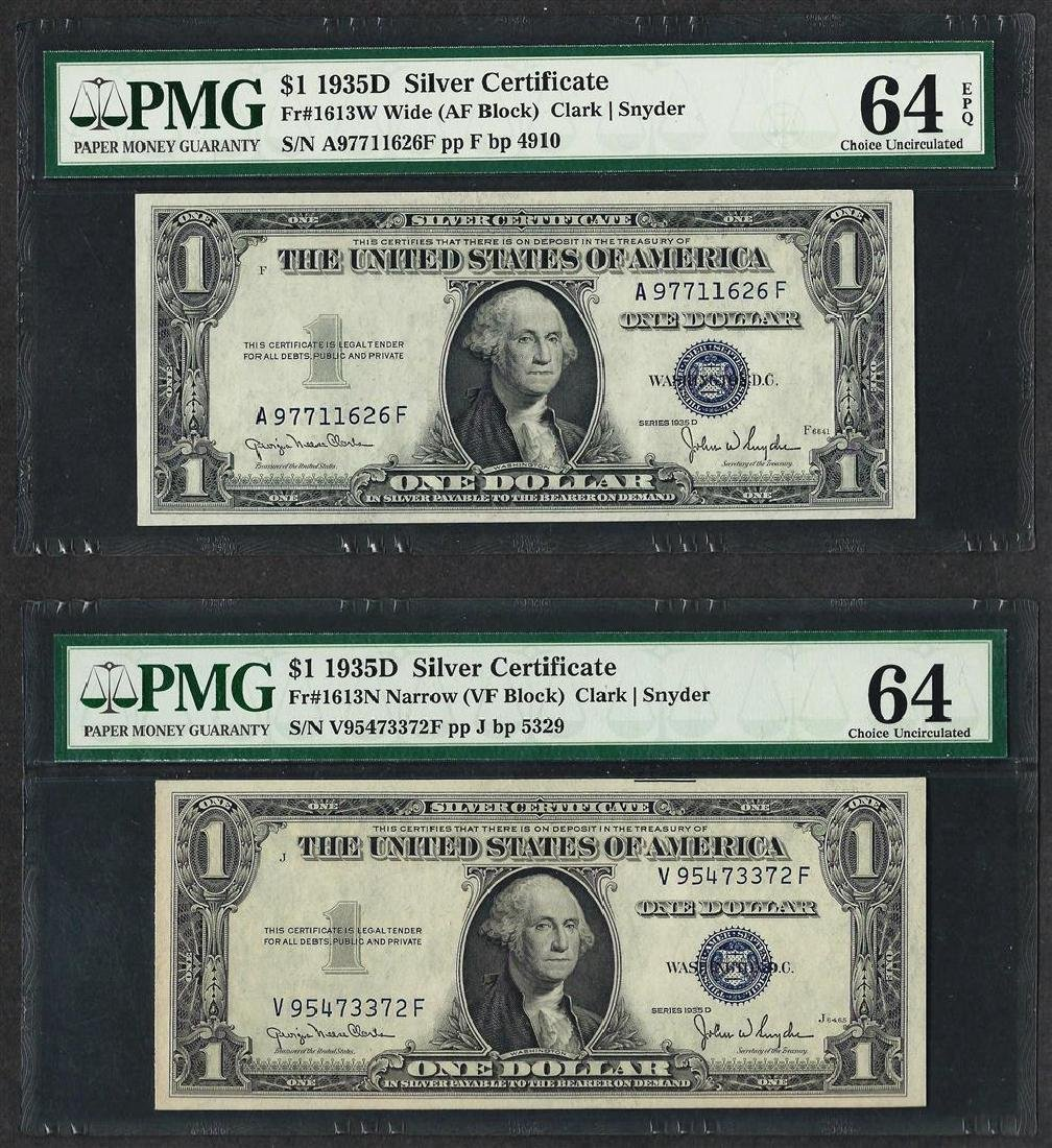 Lot of (2) 1935D $1 Silver Certificate Notes Fr.1613