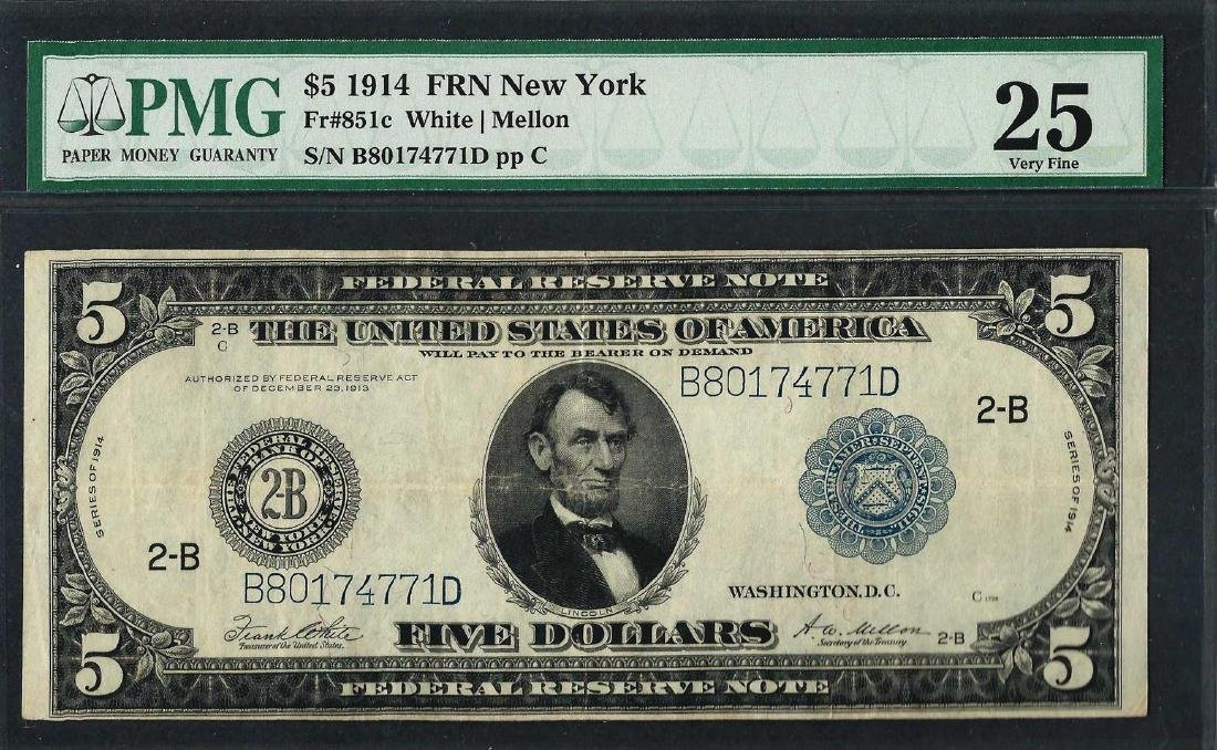 1914 $5 Federal Reserve Note New York Fr.851c PMG Very