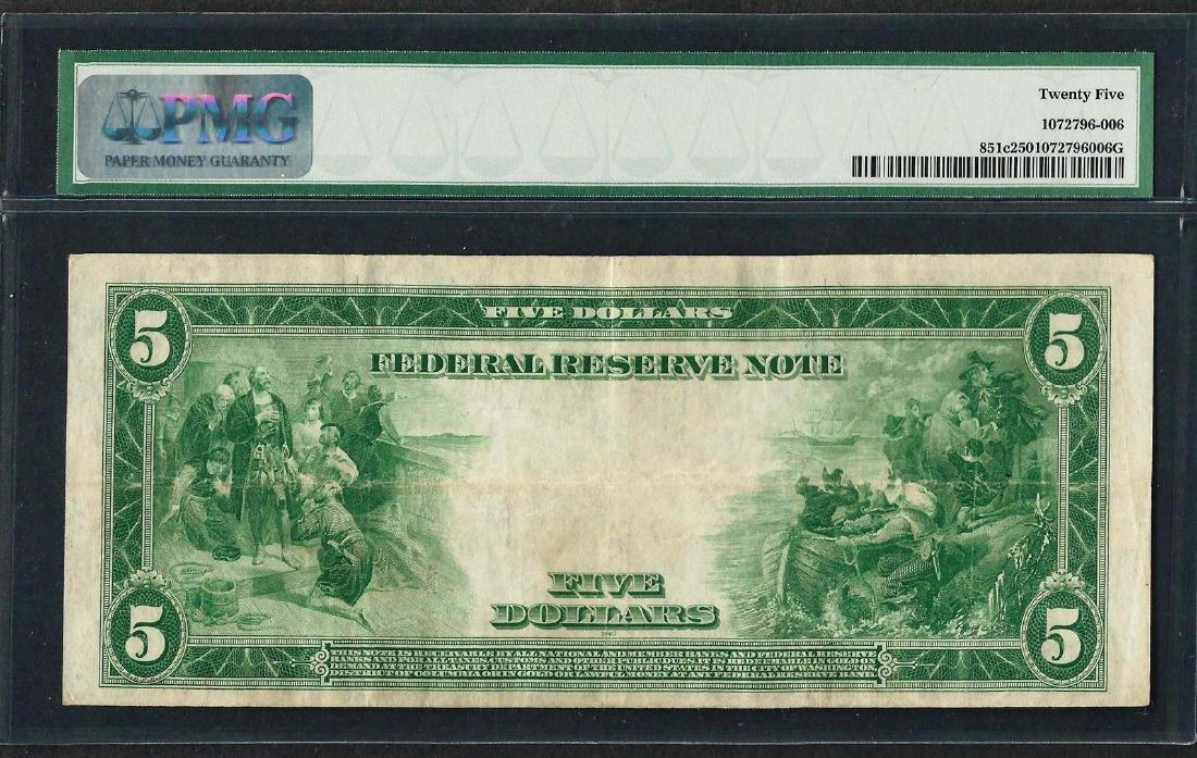 1914 $5 Federal Reserve Note New York Fr.851c PMG Very - 2