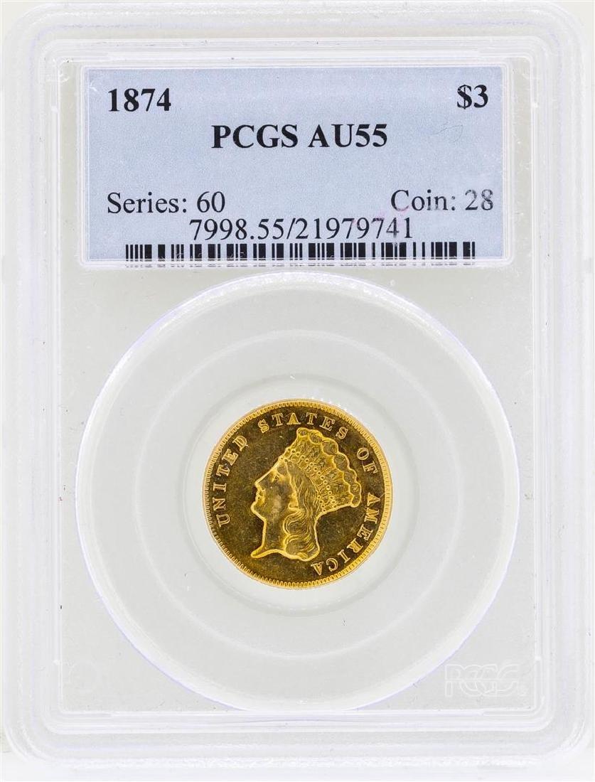 1874 $3 Indian Princess Head Gold Coin PCGS AU55