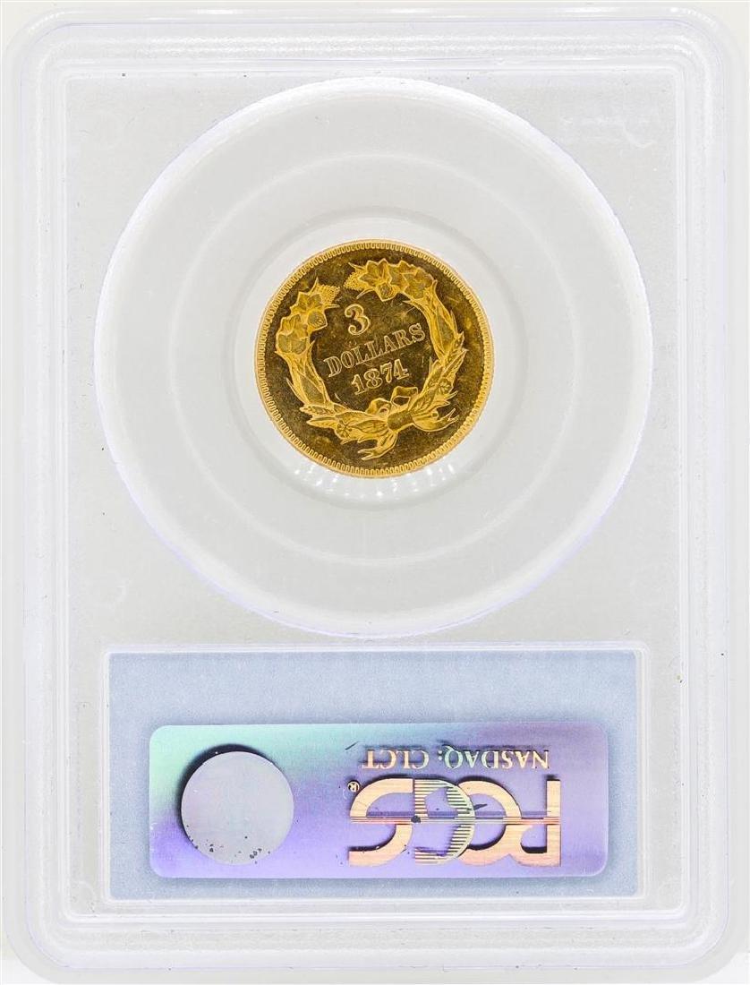 1874 $3 Indian Princess Head Gold Coin PCGS AU55 - 2