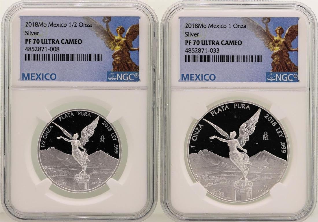 Lot of 2018 Mexico 1 Onza & 1/2 Onza Libertad Proof