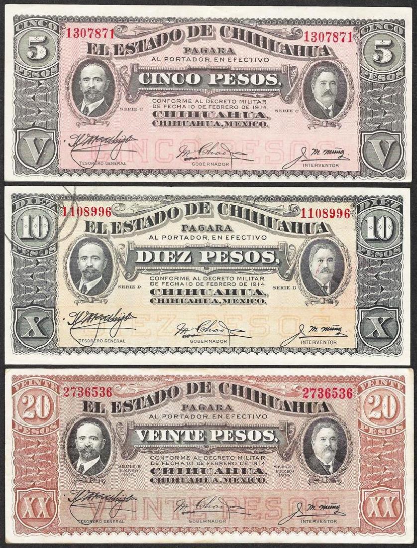 Lot of 1914-1915 El Estado de Chihuahua, Mexico Notes